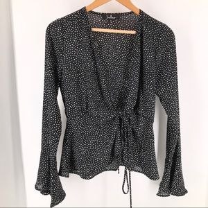 Lulus Black Polka Dot Wrap Long Sleeve Blouse